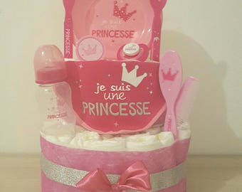 "Beautiful diaper cake for girl ""I'm a Princess"""