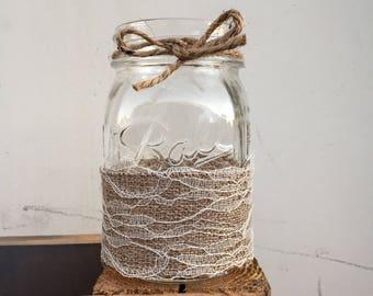 Burlap mason jar centerpieces. Burlap and lace mason jar. Rustic centerpieces. Rustic mason jar. Rustic bridal shower decor. Rustic wedding