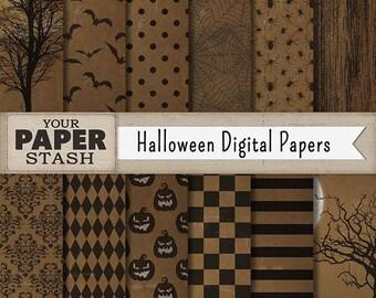 Halloween Digital Paper, Halloween Scrapbook Paper, Spooky Digital Background, Textured Kraft Paper, Bats, Spiders, Pumpkins, Commercial Use