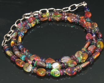 "30 Carats 4.5x5.5 to 4.5x6.5 16"" Ethiopian Fire Opal Black Tumble With Roundel Beads Necklace 8017"