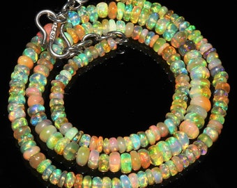 "46 Ctw 1Necklace 3to5 mm 16"" Beads Natural Genuine Ethiopian Welo Fire Opal ET152"