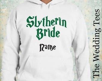 Slytherin Bride Hoodie . Harry Potter Hoodie. Groom's Funny Hoodie . Wedding Hoodie . Bachelor Party Clothing . Bachelorette Party .