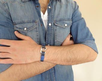 EXPRESS SHIPPING,Men's Black Blue Leather Bracelet, Chrome Hook Clasp Bracelet, Cuff Bracelet, Gifts for Boyfriend, Father's Day Gifts,
