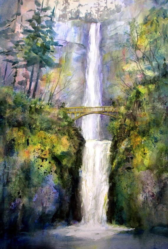 Multnomah Falls 10 - signed prints or note cards from a watercolor by Bonnie White