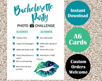 Bachelorette Party Photo Challenge Games - Blue and Green A6 Game Cards - Scavenger Hunt Style - Hens Night Hen Parties Stagette Sexy Bride