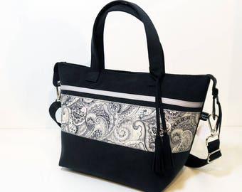 Handbag city in anthracite grey alcantara, handles, adjustable shoulder strap, unique, made in Clara France.modele