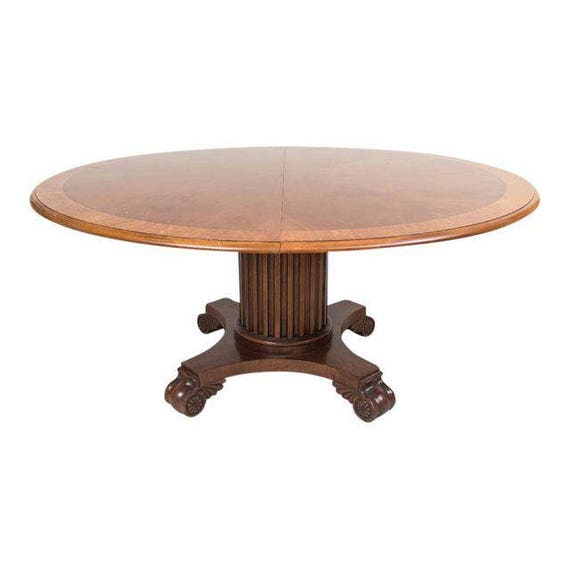 Renaissance Revival Solid Walnut 62 inch Round Dining Table with 1 Leaf circa 1875