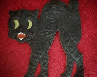 Vintage Halloween Embossed Black Scaredy Cat Germany 1920's Decoration