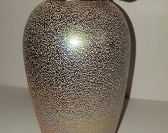 Unusual Textured Iridescent Vase Urn  with a looped collar