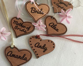 Personalised Wooden Hearts - Wine Glass Charms - Hen do - Party Favours - Wine Tasting - Wedding Table -  Keepsake - Key Ring