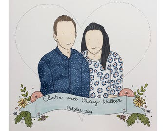 Couple portrait in pen and ink. Personalised.