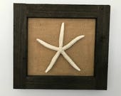 Framed Starfish on Burlap, Coastal Decor, Beach Decor, Bathroom Decor, Nautical Decor