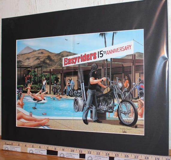 "David Mann ""Pool Party"" Easyriders 15th Anniversary 16'' x 20'' Matted Biker Art #8606ezrxmb"