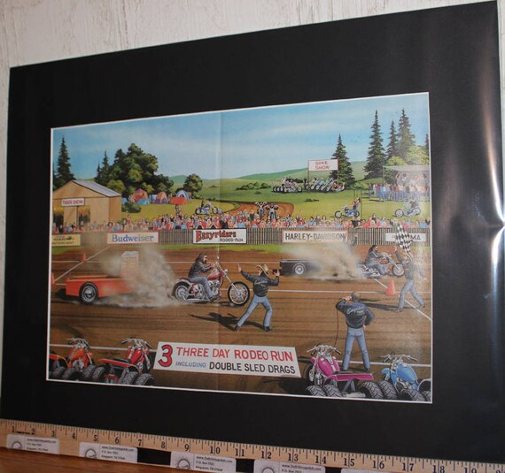 "David Mann ""Easyriders Rodeo Run"" 16'' x 20'' Matted Biker Art #8805ezrxmb"
