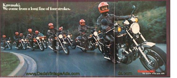 1977 Kawasaki - we come from a long line of four strokes. 4-Page Ad #de77da07
