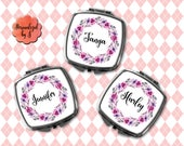 Bridesmaid Gift, Compact Mirror, Makeup Mirror, Personalized Mirror, Floral Print Pocket mirror, Hand Mirror #154