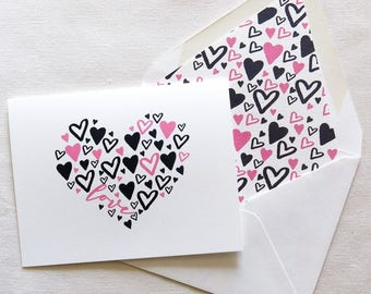 Black and Pink Valentines Hearts - Love Card - Heart of Hearts