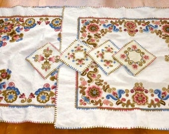 2 Vintage Hungarian Embroidered Tablecloths & matching Napkins