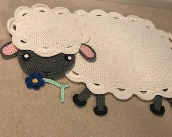 Lamb Crochet Rug