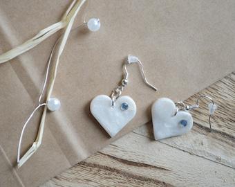 Earrings white heart with Rhinestones in Fimo / polymer clay - earrings