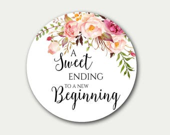 Wedding Favor Tag, A Sweet Ending To A New Beginning, Favor Tag, Floral Favor Tag, Favor Labels, 2.5 inch, Candy Buffet Label, Wedding Tags
