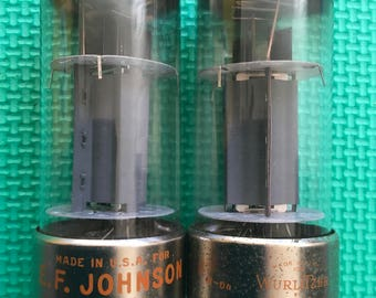 Matched Pair RCA 7027 7027A Metal Base Output Tubes NOS-Testing