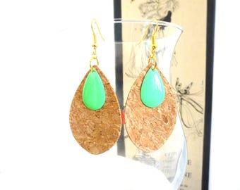 Cork drop earrings and green enamel pendant
