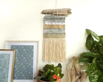 Gold woven wall hanging weaving / small wall art tapestry fiber art wall decor / boho bohemian modern / neutral / living room nursery gift