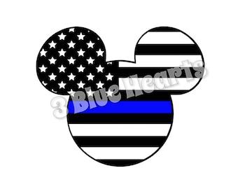 Thin Blue Line Flag Mickey Head svg studio pdf dxf jpg