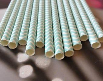 Set of 12 color sky blue Chevron paper straws