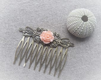 Hair comb vintage bronze comb hair comb pink resin Rose