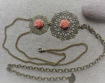 Bronze headband bronze head jewel Headband vintage headband bronze Headband pink rose headband - ninette barrettes