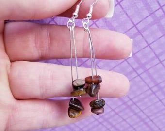 Earrings, Tigers eye earrings, dangling earrings, gemstone earrings
