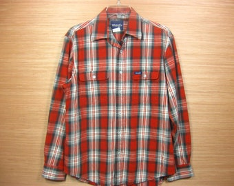 Vintage Men's Plaid Wrangler Shirt Medium, Cowboy Western Clothing
