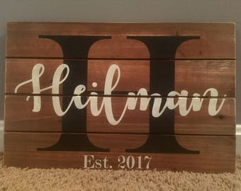 Last Name Painted Wood Board 11x17