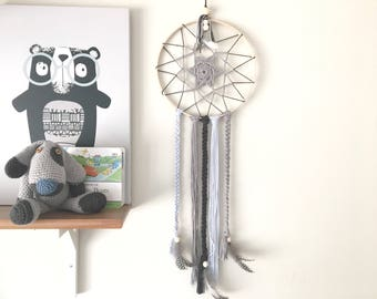 Grey Dreamcatcher, Grey Nursery Decor, Boys Room Accessories