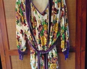 VINTAGE c1920s American Robe & Chemise Burnout Velvet Devore w/ Bugle Beads