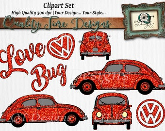 Clip Art Graphic Pack| Valentines Clip Art | transparent background high res 300 dpi | Clip Art Set | Love Bug | VW Car | volkswagen Beetle