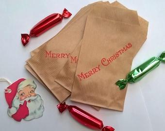 "10 mini bags beige kraft ""Merry Christmas"""