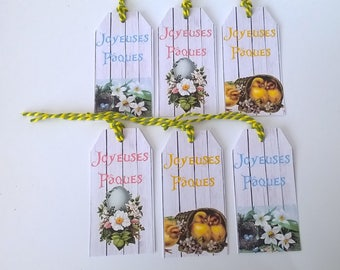 6 labels Easter, background wood retro images