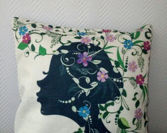 Ombre floral cushion