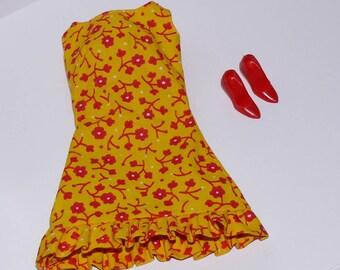 Vintage Barbie Fashion Pak Dress Sun-Shiner w/ Red Closed Toe Heels