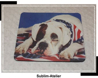 Dog and flag mouse pad, mousepad, office decor, desk accessory