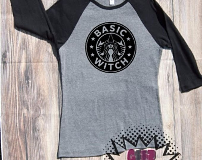 basic witch halloween T-shirt Adult Raglan Baseball Tee  Vinyl Unisex Cotton basic white girl coffee woman