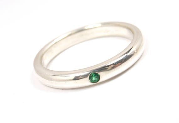 Tiffany & Co Peretti Sterling Silver Emerald Stacking Band Ring Size 5.5