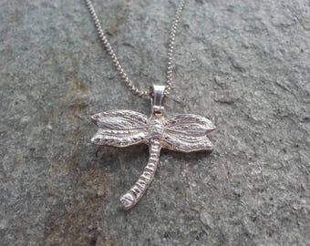 Dragonfly Pendant, fine silver