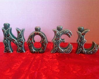 Vintage Lipper Mann NOEL CANDLE HOLDERS - Holly Leaves & Berries - Free Shipping
