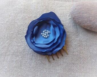 Blue comb bridal comb hair comb blue flower hair comb ceremony blue fabric