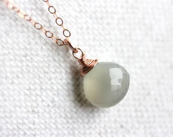 Gray Moonstone Necklace, Rose Gold Filled Chain, Light Grey Gemstone Pendant, June Birthstone, Handmade Jewelry