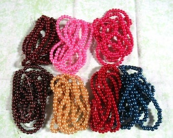 """4mm (32"""") Strand Round Glass Pearl Beads (B118a-c)"""